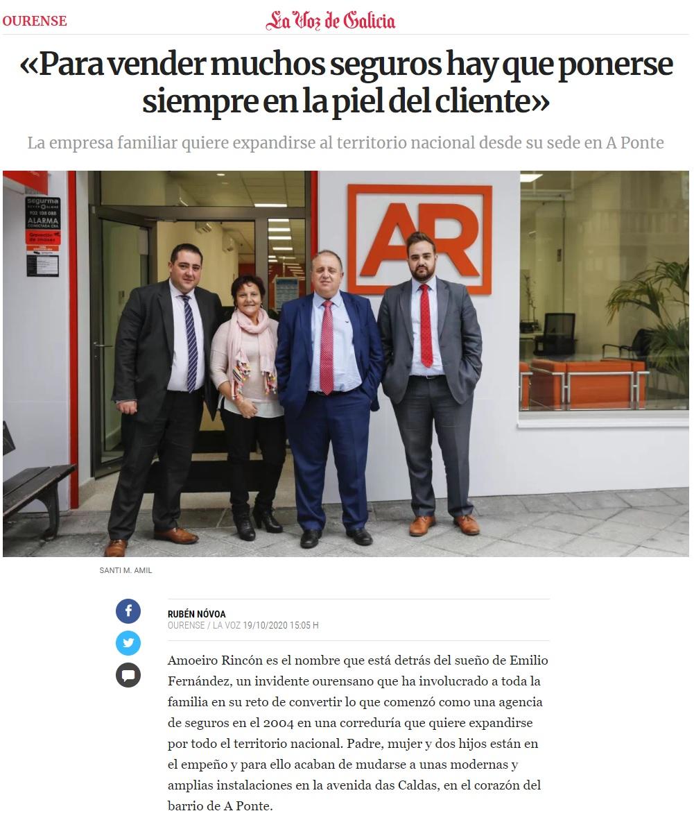 Amoeiro Rincón en La Voz de Galicia 19.10.2020